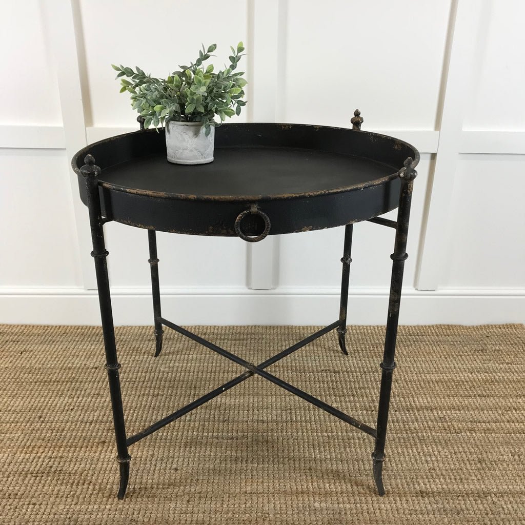 Black Distressed Metal Tray Large Side Table
