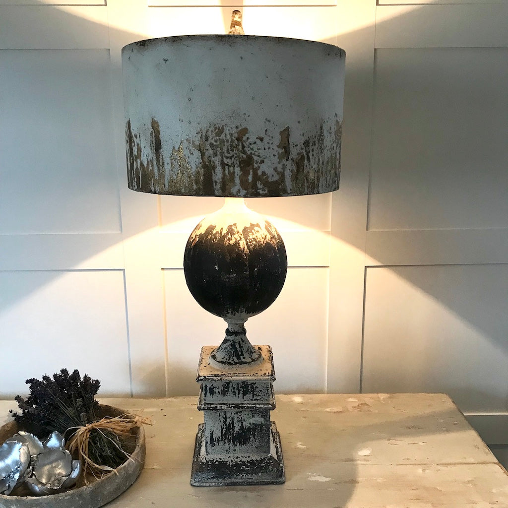 Distressed Handfinished Metal Table Lamp Cream Black Gold