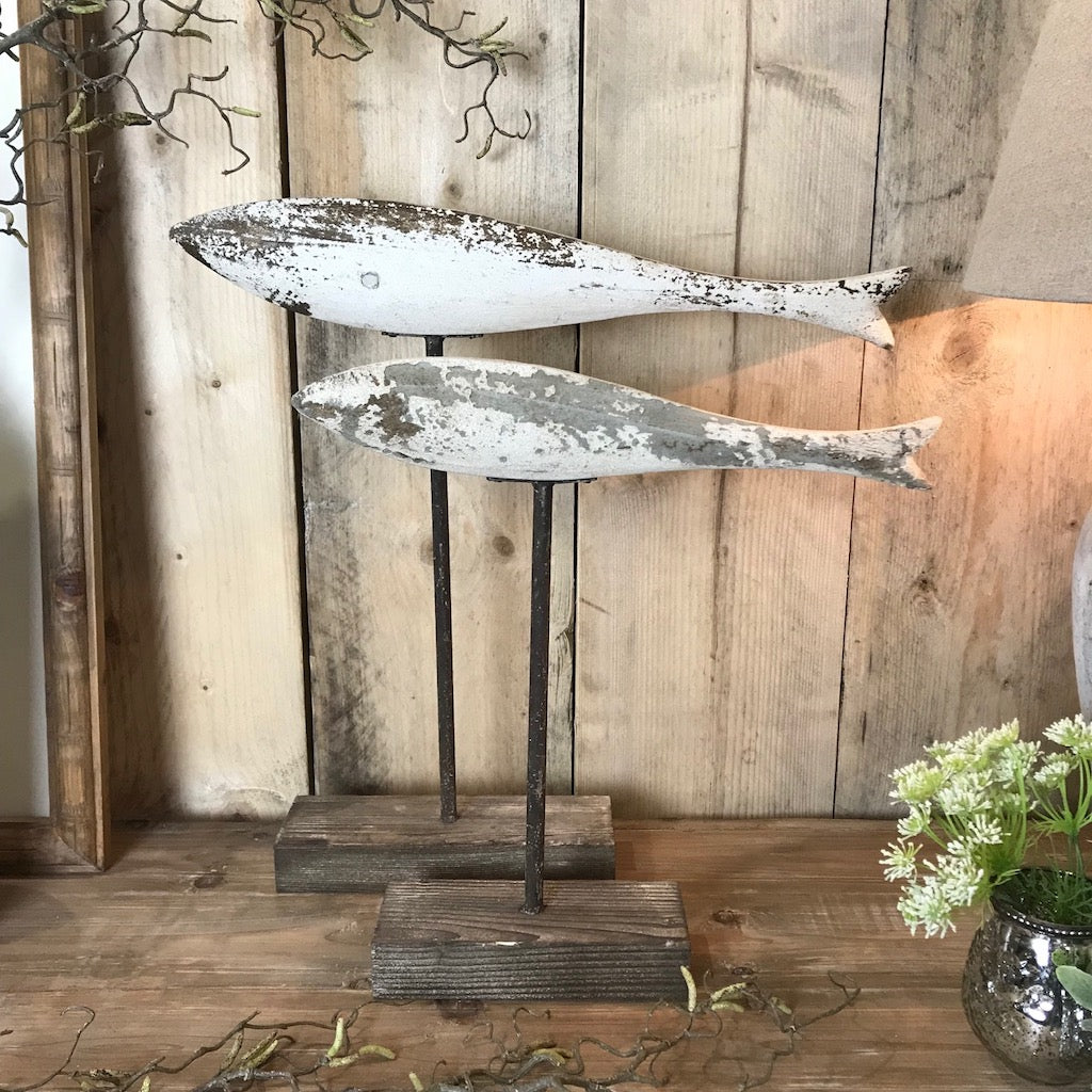 Carved Wooden Painted Fish on Wooden Stand Ornament Pair