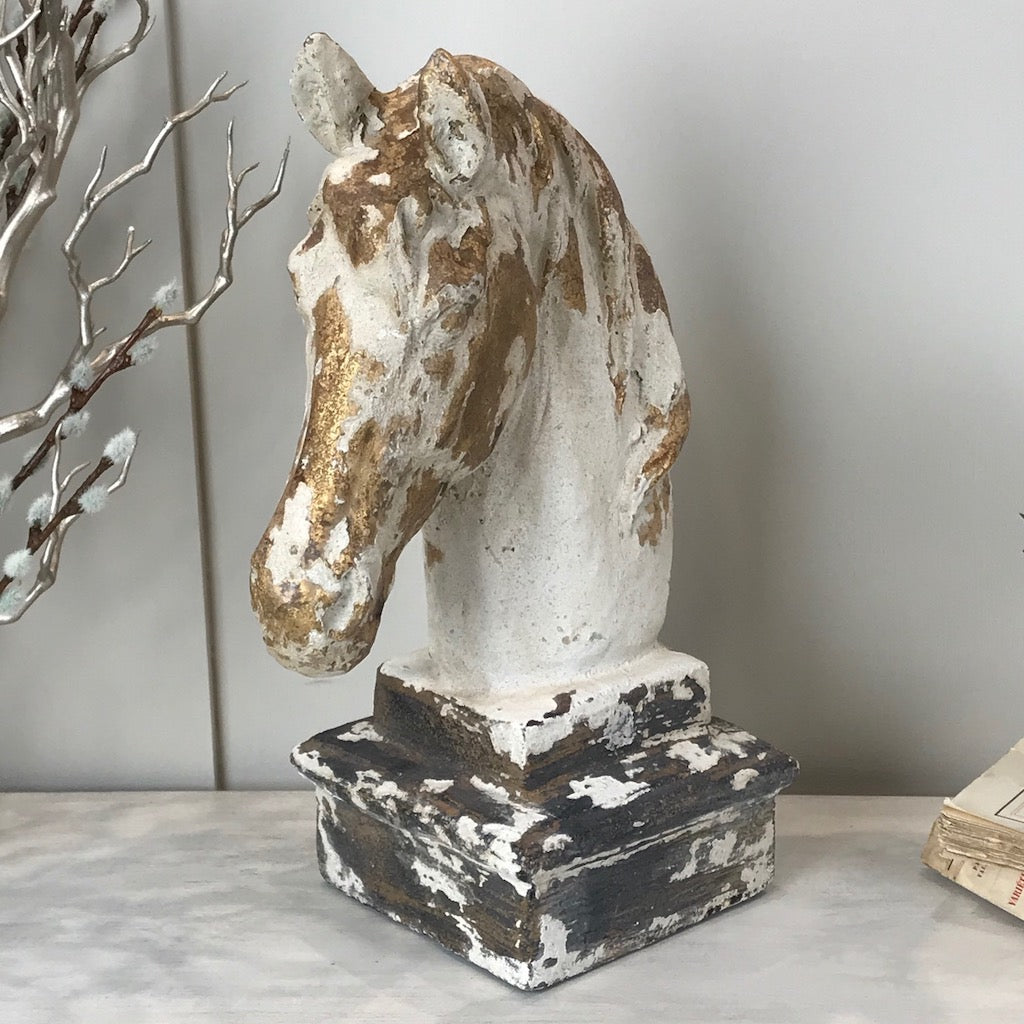 Distressed Painted Horse Statue