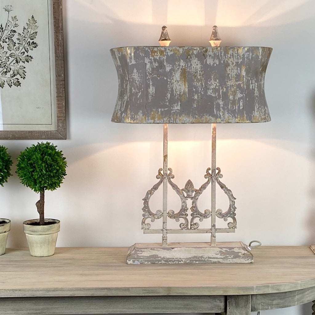 Distressed Handfinished Metal Table Lamp Grey Gold and Cream