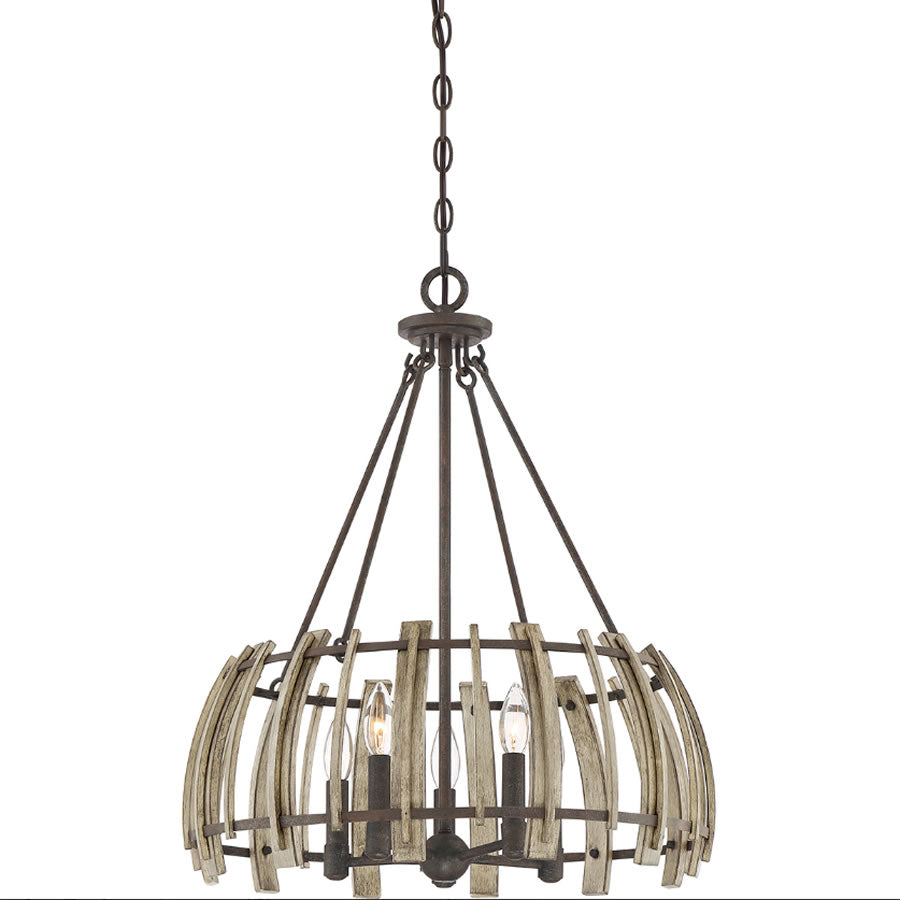 Foundry Rust and Faux Wood 5 Light Pendant Chandelier Ceiling Light