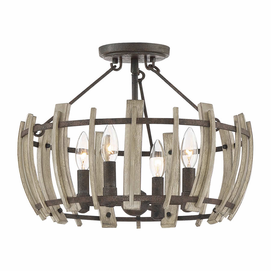 Foundry Rust and Faux Wood Semi Flush Ceiling Light