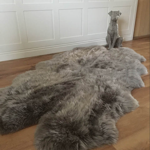 Luxury Grey Vole Quad Sheepskin Rug XL