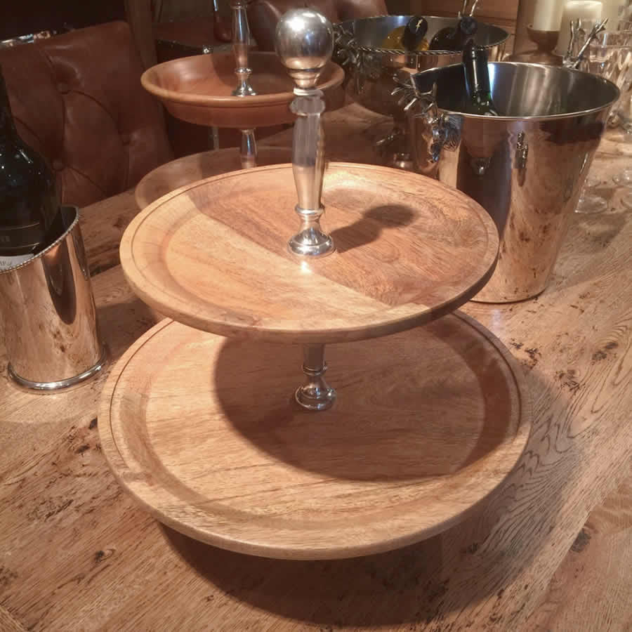 Wood Nickel Cake Stand 2 Tier