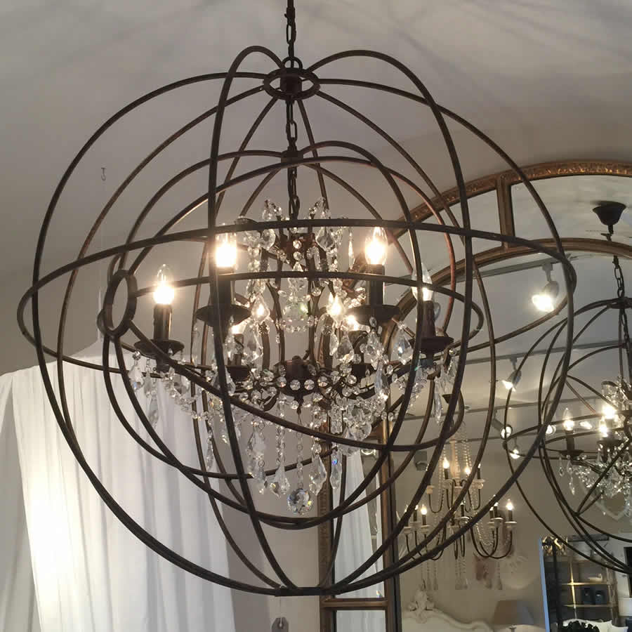 Large Round Metal Foucaults Double Orb Chandelier Crystal Droplets