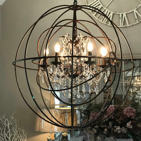 Ceiling lights beaded birdcage crystal glass nickel large round metal foucaults double orb chandelier crystal droplets aloadofball Image collections