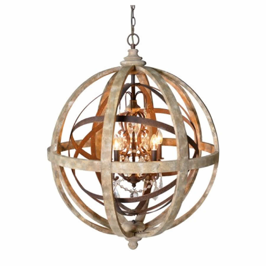 Large Round Wooden Orb Chandelier With Metal Orb Detail