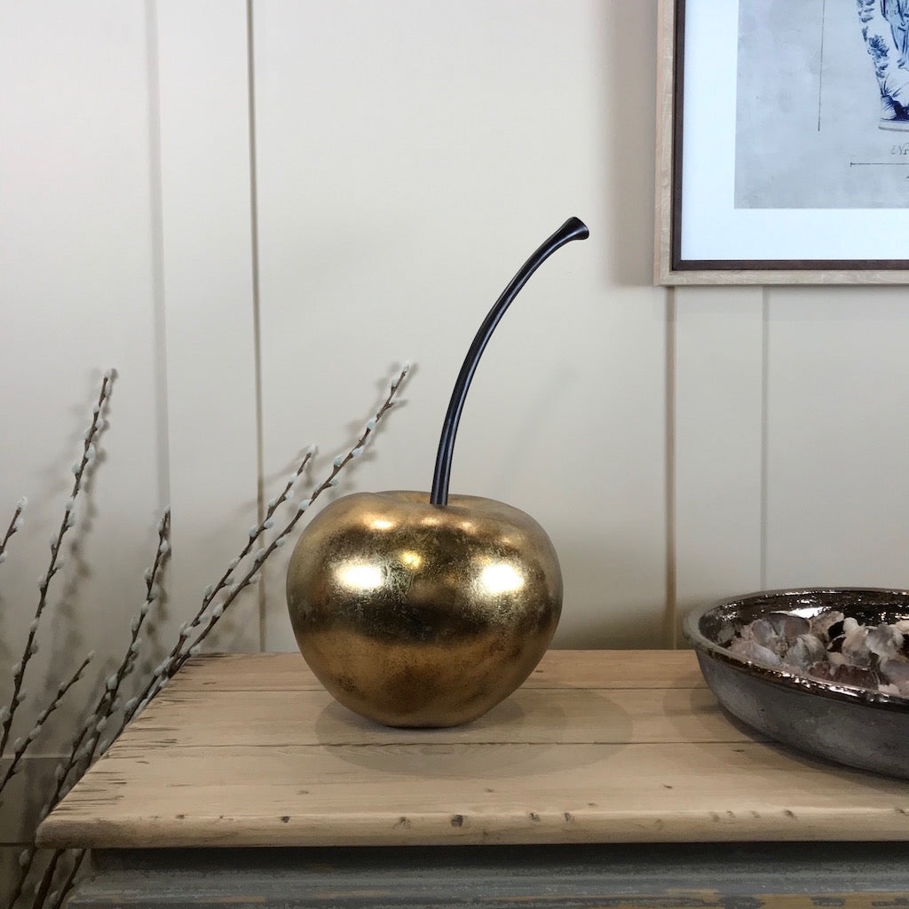 Large Gold Cherry Sculpture