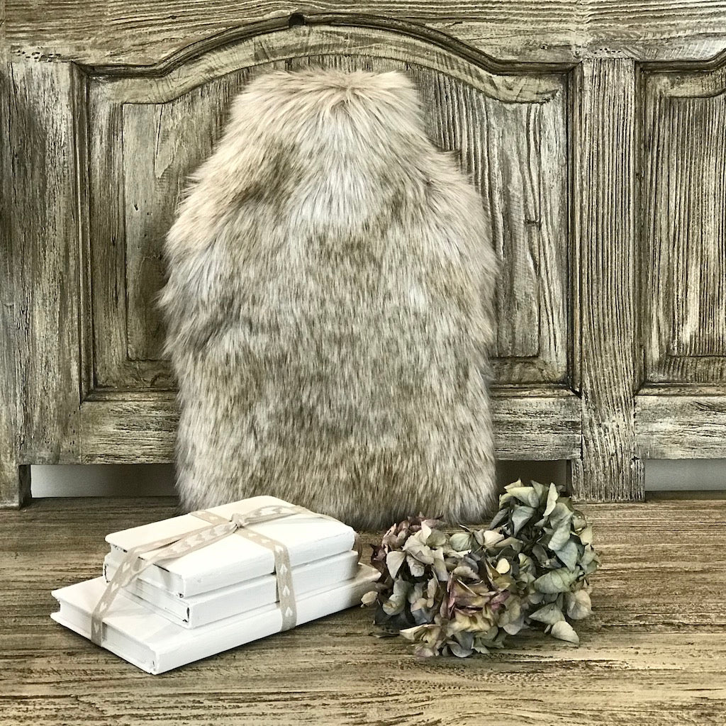 Luxury Faux Fur Hot Water Bottle Siberian Wolf