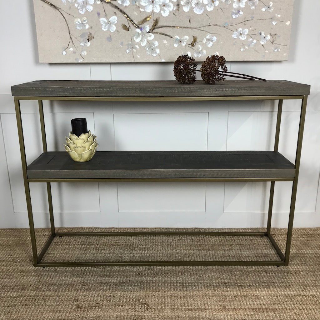 Narrow Brushed Brass and Wood Console Table