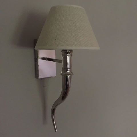 Silver Finish Horn Wall Light & Shade