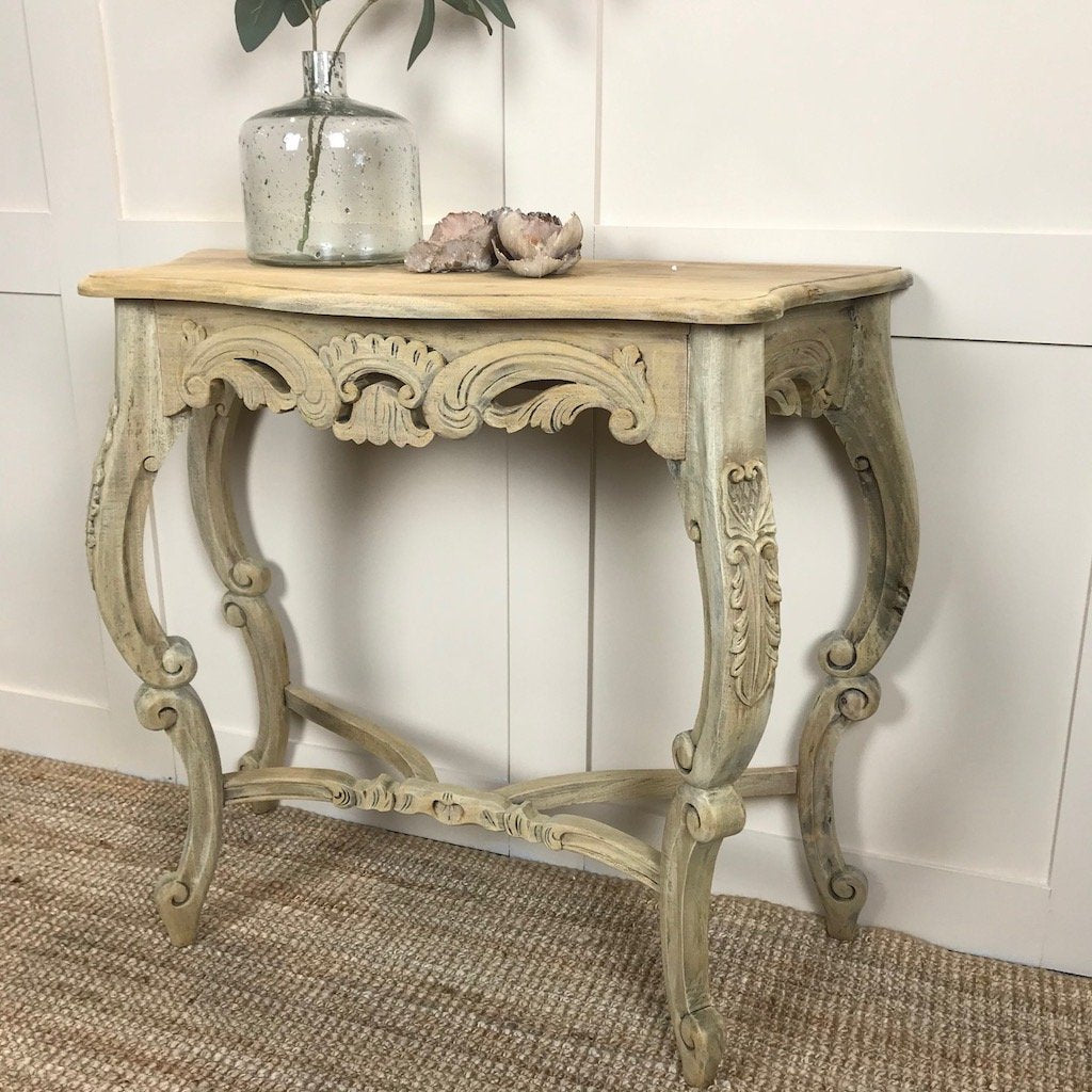 Hand Carved Bleached Mahogony Console Hall Occasional Table