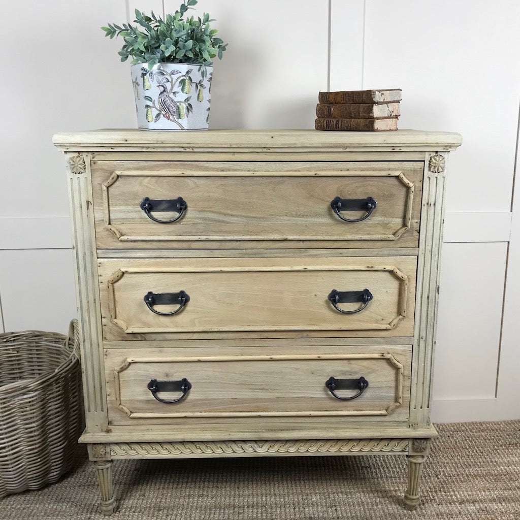 Vintage Style Bleached Mahogany Chest of Drawers