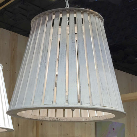 Large Distressed White Slatted Pendant Chandelier