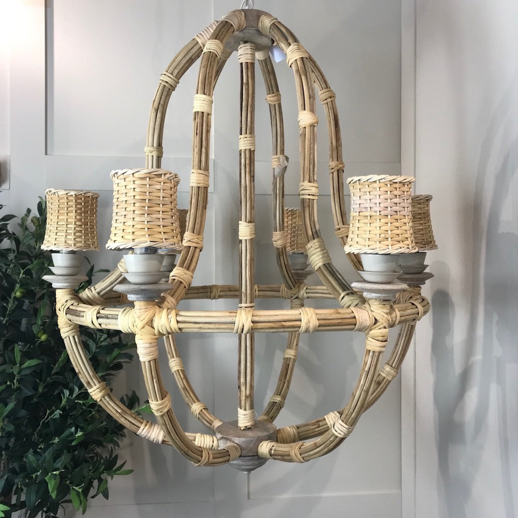 Teardrop Natural Rattan Pendant Chandelier
