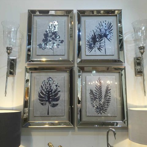 Mirrored Framed Fern and Plant Botanical Pictures