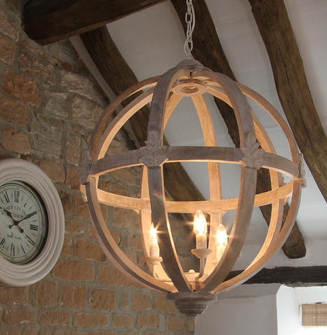 Large Round Wooden Orb Chandelier Cowshed Interiors