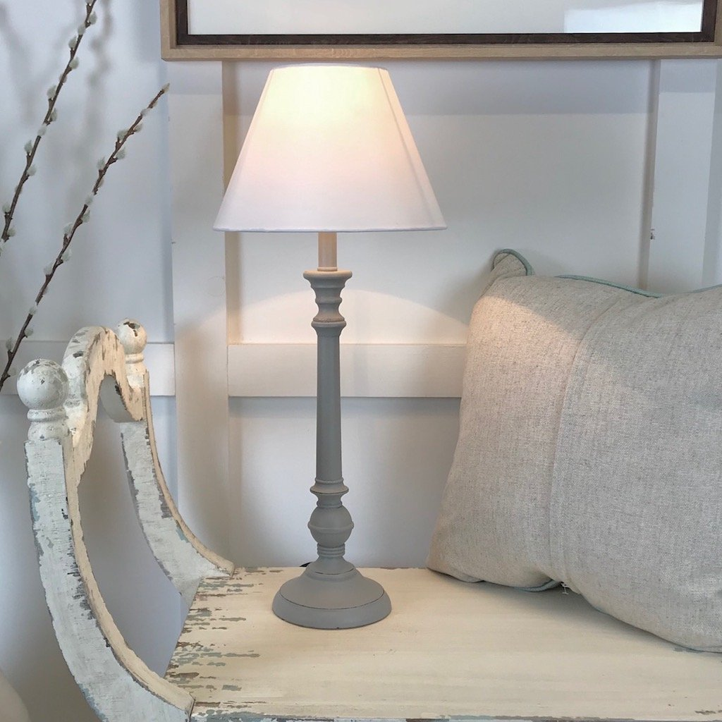 Picture of: Tall Turned Grey Bedside Table Lamp Cowshed Interiors