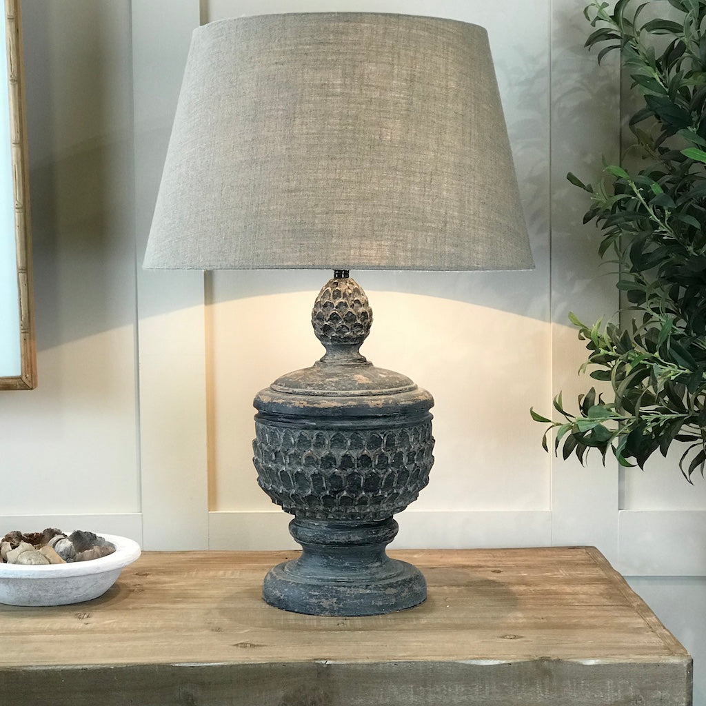 Antique Distressed Jasmine Acorn Table Lamp Linen Hessian Shade