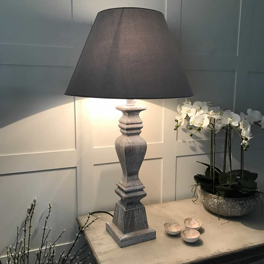 Table lamps cowshed interiors tall grey wash elegant wooden table lamp with grey shade mozeypictures Choice Image