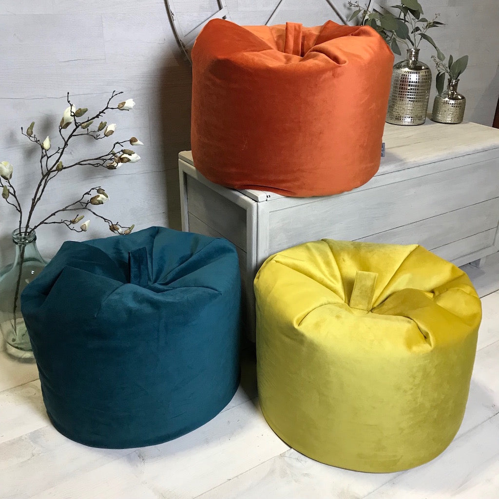 Velvet Retro Beanbag 3 Colours