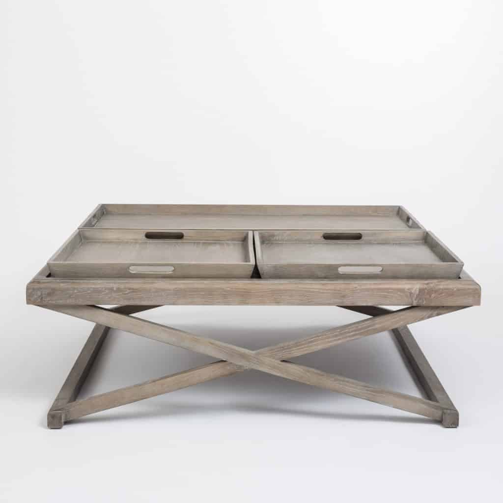 Cross Leg Coffee Table Grey Aged Oak Removable Trays