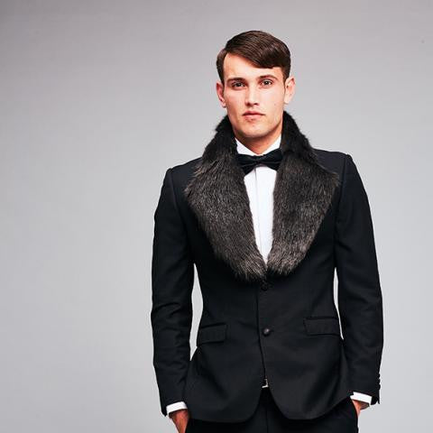 Helen Moore Luxury Faux Fur Mens Lapel Collar