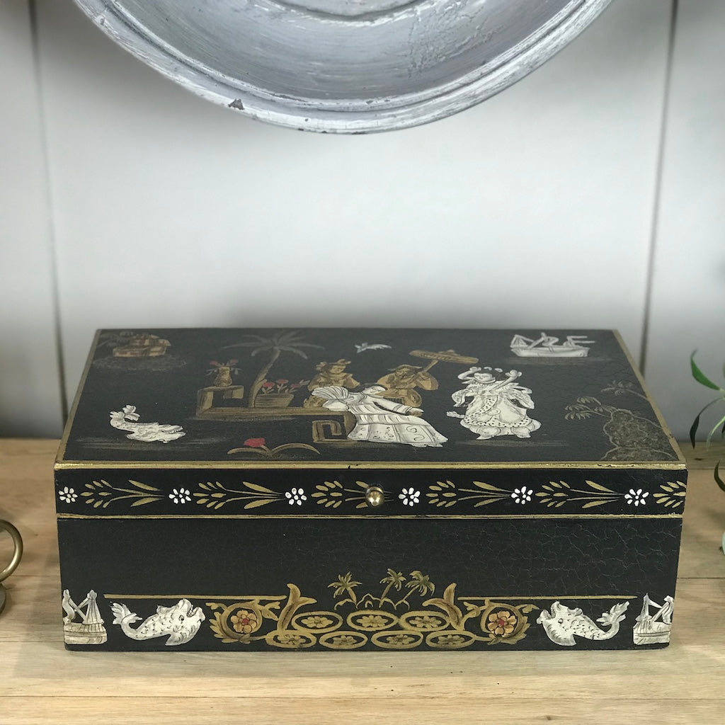 Large Black Oriental Wooden Box