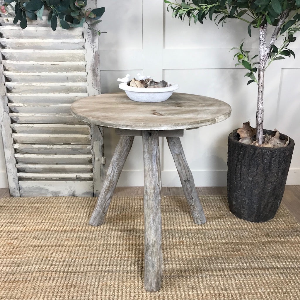 Rustic Wood Tripod Occasional Table Bedside