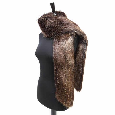 Helen Moore Faux Fur Long Scarf Brown Bear