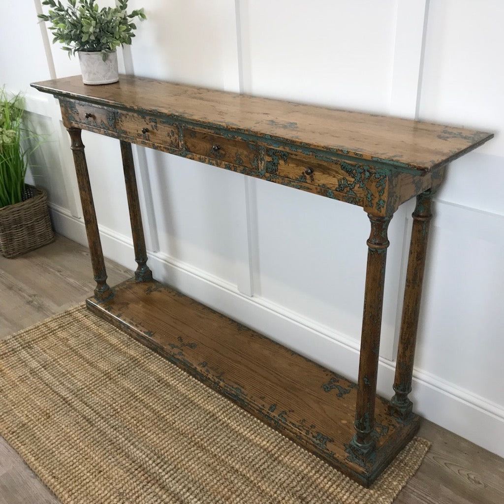 Slim Oak Console Table Teal Paint Distressed Effect Drawers