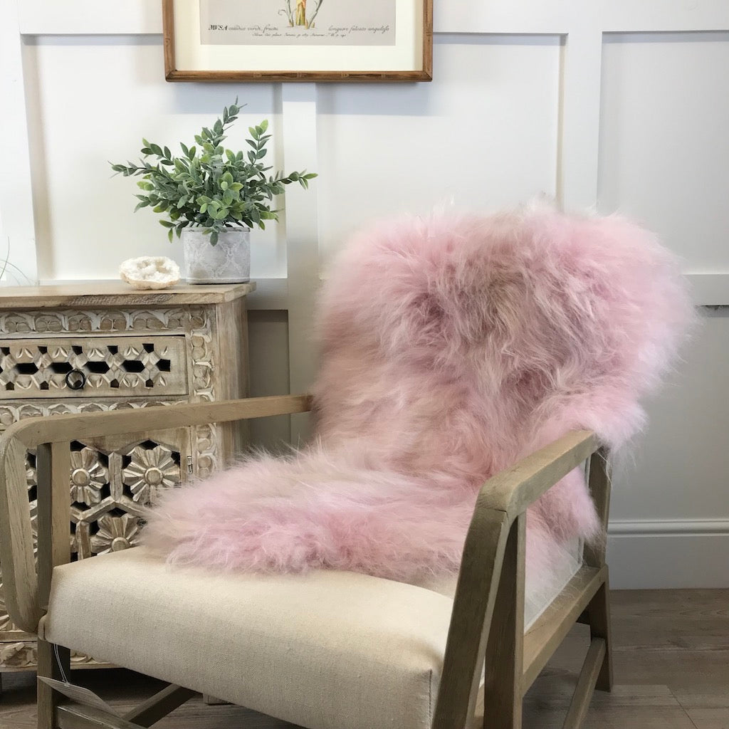 Finest Icelandic Long Wool Sheepskin Pale Pink