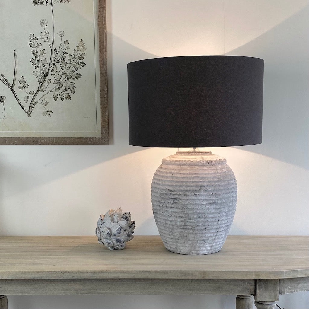 Large Ribbed Pale Grey Stone Effect Aged Ceramic Table Lamp