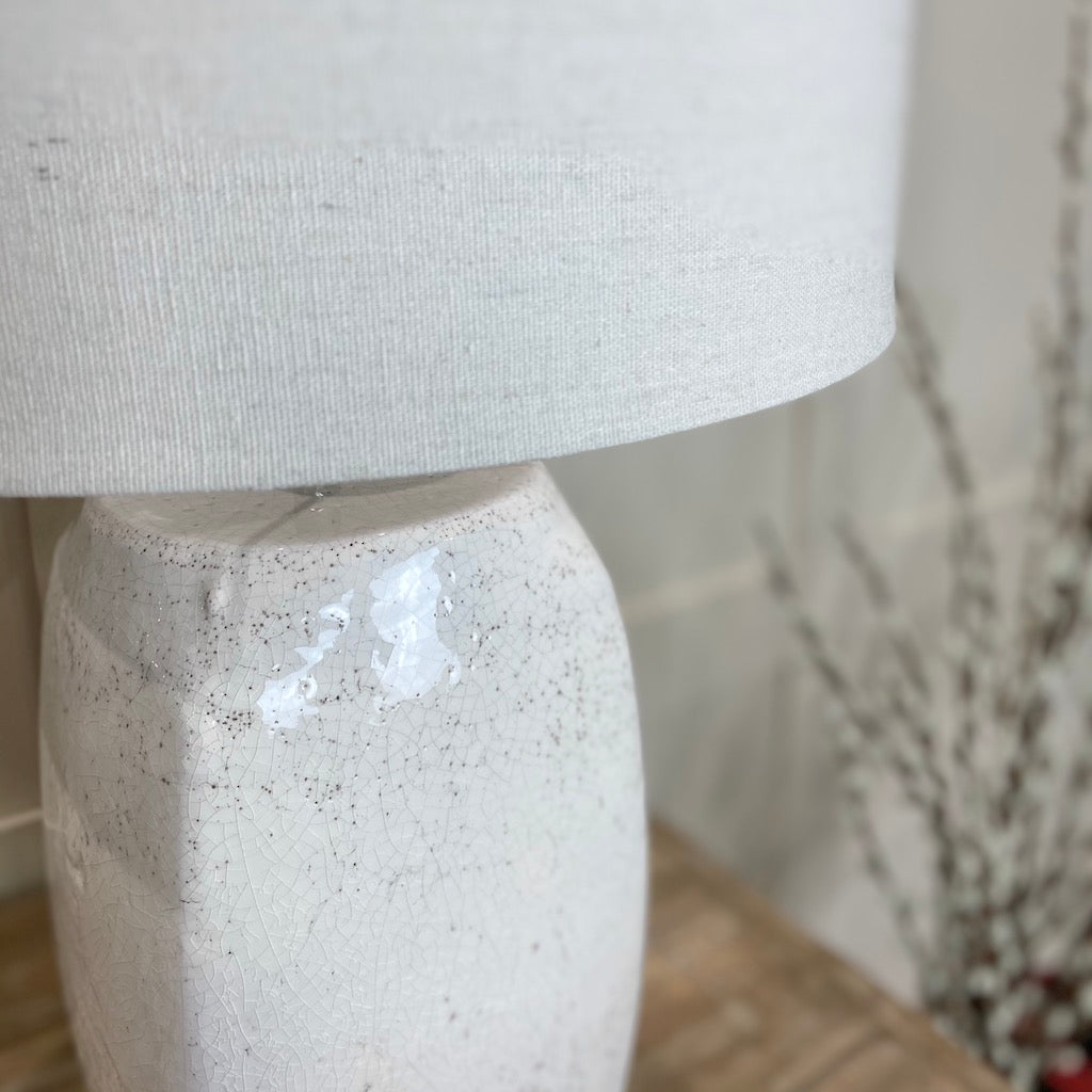 Tall White Crackle Glaze Table Lamp