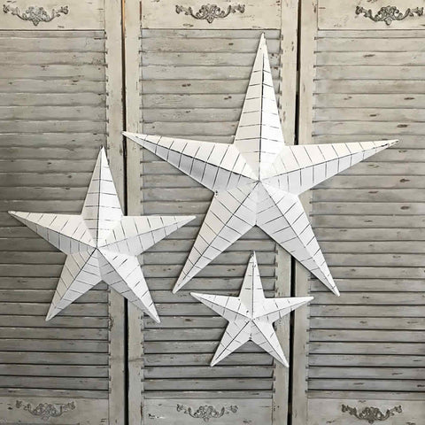White Distressed Metal Stars Set 3