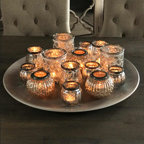 Large Round Grey Tray of T Light Votives