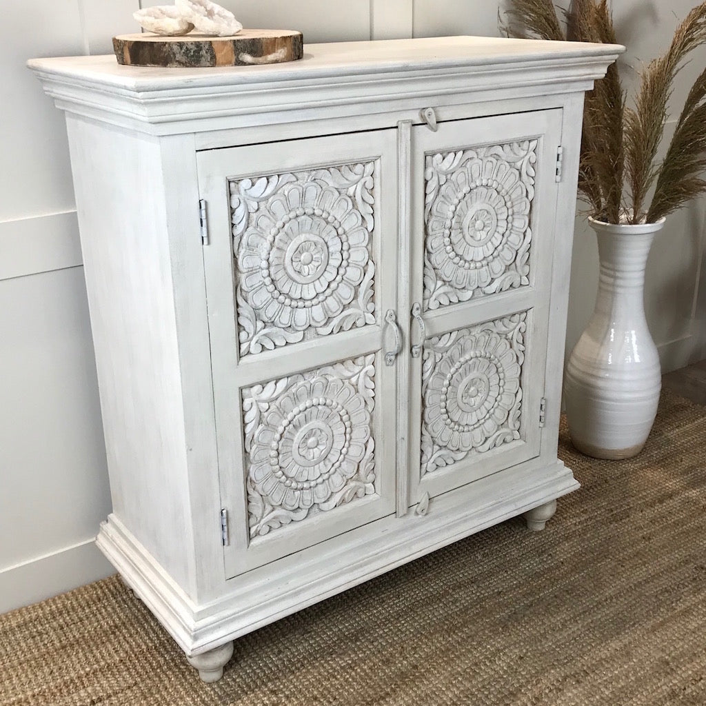 Whitewashed Indian Carved 2 Door Sideboard