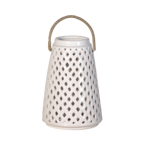 White Lattice Lantern Small