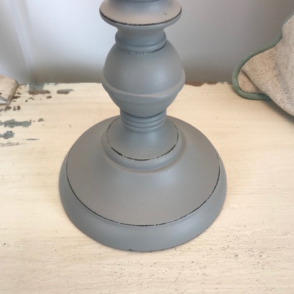 Tall Turned Grey Bedside Table Lamp
