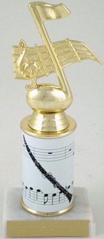 Clarinet Trophy with Custom Round Column-Trophies-Schoppy's Since 1921