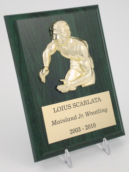 Color Wrestling Plaque - 6 x 8 Avail. in Green, Blue, Brown