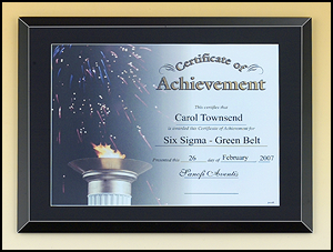 11 x 14 Black Glass Certificate Plaque