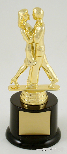 Couples Modern Dance Trophy on Black Round Base-Trophies-Schoppy's Since 1921