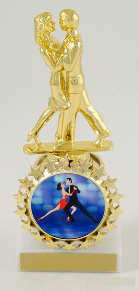 Couples Modern Dance Trophy with Starred Logo Holder