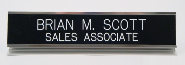 Desk Nameplate 2 x 10 Silver-Name Desk Block-Schoppy's Since 1921