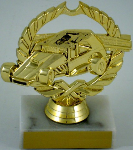 Dirt Track Car Trophy on Marble Base