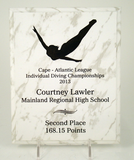 Diving White Marbled Plaque-Plaque-Schoppy's Since 1921