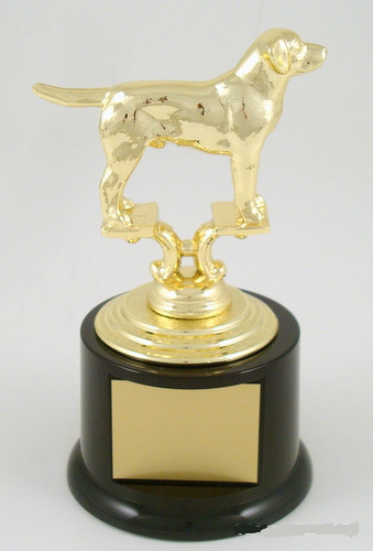 Dog Trophy on Black Round Base