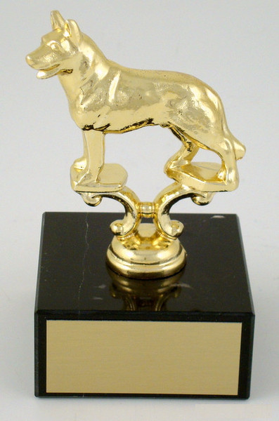 Dog Trophy on Large Black Marble Base